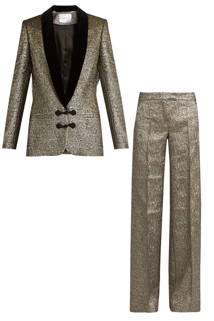 "Libra metallic brocade jacket, $1223, and trousers $571, <a href=""http://www.matchesfashion.com/au/products/Racil-Draco-velvet-lapel-metallic-brocade-jacket-1067684?qxjkl=tsid:55509|cgn:QFGLnEolOWg&c3ch=LinkShare&c3nid=QFGLnEolOWg&utm_source=linkshare&utm_medium=affiliation&utm_campaign=au&utm_content=QFGLnEolOWg"">Racil at Matchesfashion</a>"
