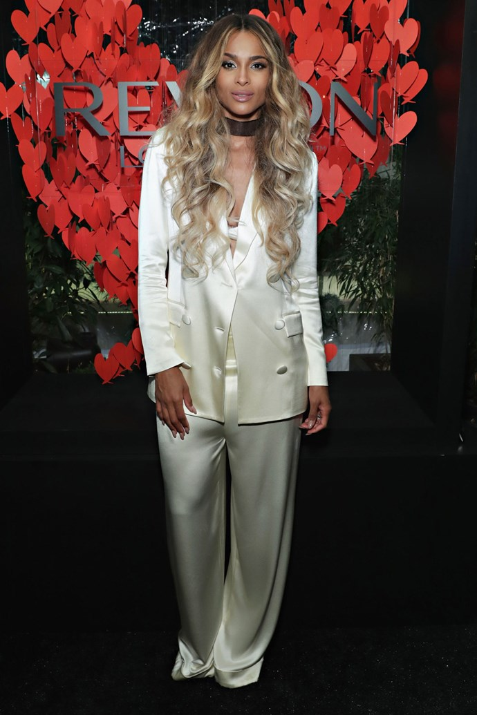 <strong>CIARA</strong> <br><BR> <strong>October 2016:</strong> Combine the trouser suit and underwear-as-outerwear trend to achieve a conservative and comfy — yet sultry — pyjama look.