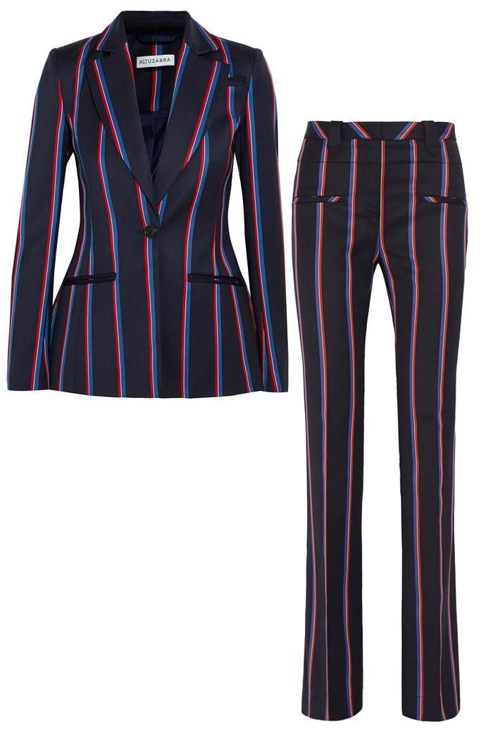 "Striped blazer, $1985, and flared trousers, $1265, <a href=""https://www.net-a-porter.com/au/en/product/709587/Altuzarra/acacia-striped-wool-and-cotton-blend-blazer"">Altuzarra at Net-a-porter</a>"