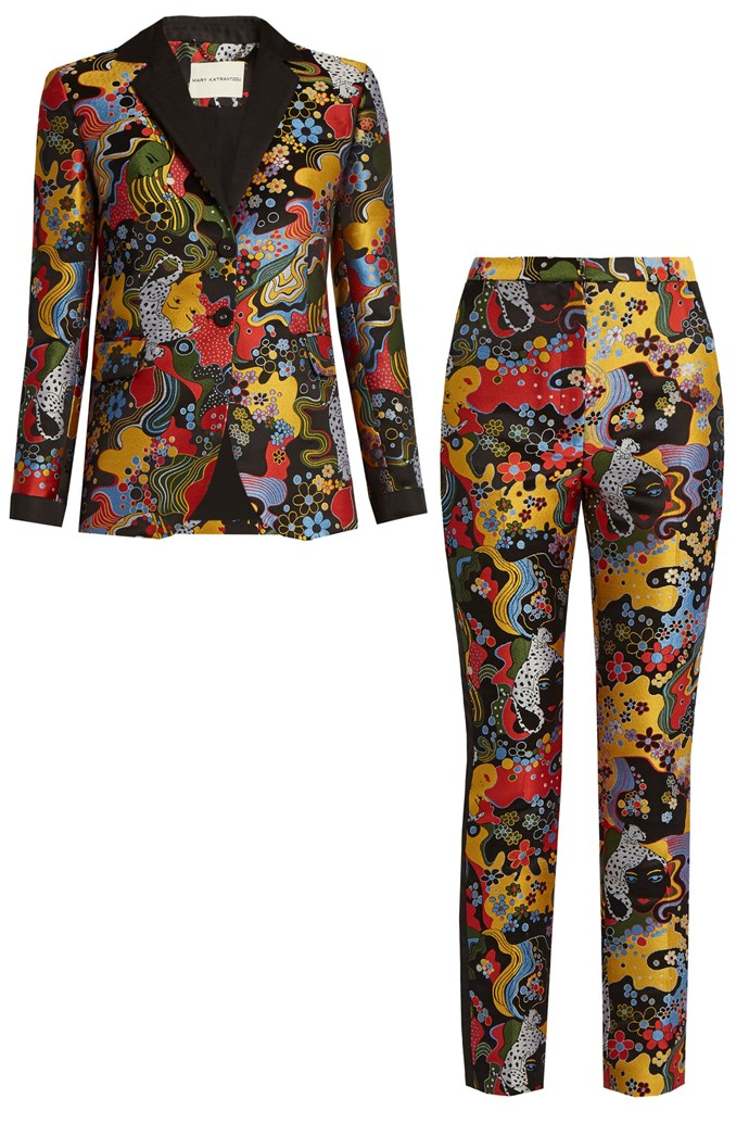 """Psychedelic-jacquard jacket, $2551, and trousers, $1609, <a href=""""http://www.matchesfashion.com/au/products/Mary-Katrantzou-Chrest-psychedelic-jacquard-blazer-1074935"""">Mary Katrantzou at Matchesfashion</a>"""