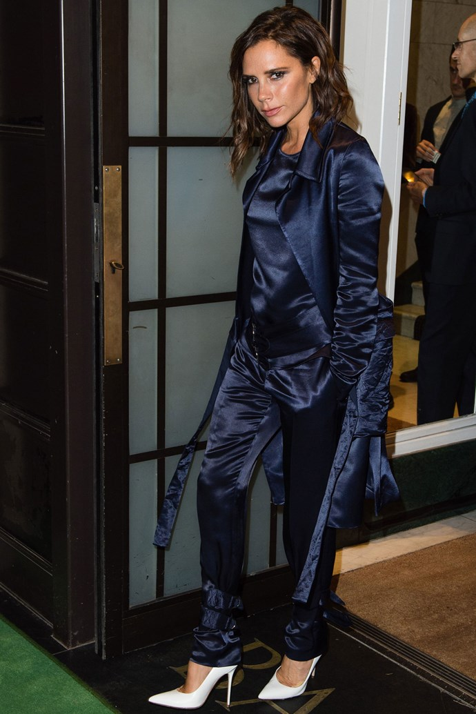 <strong>VICTORIA BECKHAM</strong> <br><Br> <strong>September 2016:</strong> Satin isn't just for your pyjama draw anymore. Take your suit from day to evening  with the addition of some satin.