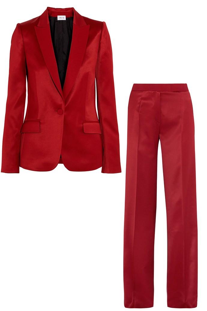 "Satin blazer, $2201, and wide-leg trousers, $1378, <a href=""https://www.net-a-porter.com/au/en/product/735762/Pallas/ariane-satin-blazer-?cm_mmc=LinkshareUK-_-QFGLnEolOWg-_-Custom-_-LinkBuilder&siteID=QFGLnEolOWg-HOzM_03K3uAVZI.rH1HDLw"">Pallas at Net-a-porter</a>"