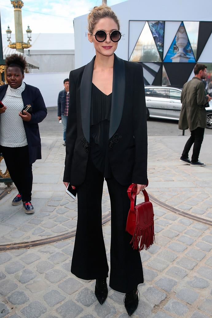 <strong>OLIVIA PALERMO</strong> <br><Br> <strong>October 2016</strong>: If you're going to wear an all-black outfit use texture to add another dimension to your look.