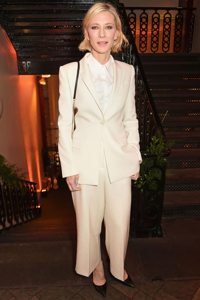 <strong>CATE BLANCHETT</strong> <br><Br> <strong>June 2016</strong>: Make an impact with a chic white suit just like Cate Blanchett's and pair with simple monochrome accessories to complete.