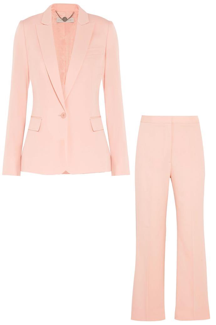 "Ingrid silk jacket, $1274, and Eden silk trousers, $538, <a href=""https://www.net-a-porter.com/au/en/product/713901/Stella_McCartney/ingrid-silk-blazer"">Stella McCartney at Net-a-porter</a>"