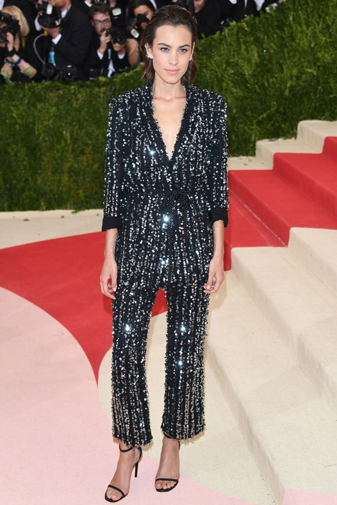 <strong>ALEXA CHUNG</strong> <br><Br> <strong>May 2016</strong>: When it comes to party wear people often forget a suit can be a legitimate option. Pick a heavily embellished, sparkly number for an eye-catching evening look.