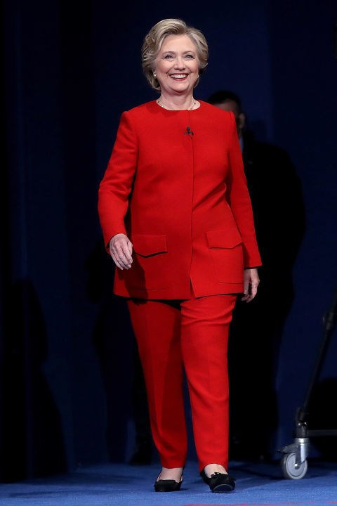 <strong>HILLARY CLINTON</strong> <BR><BR> <strong>October 2016</strong>: Be bold and pick a vibrant block coloured power suit like the brilliant Hillary Clinton.