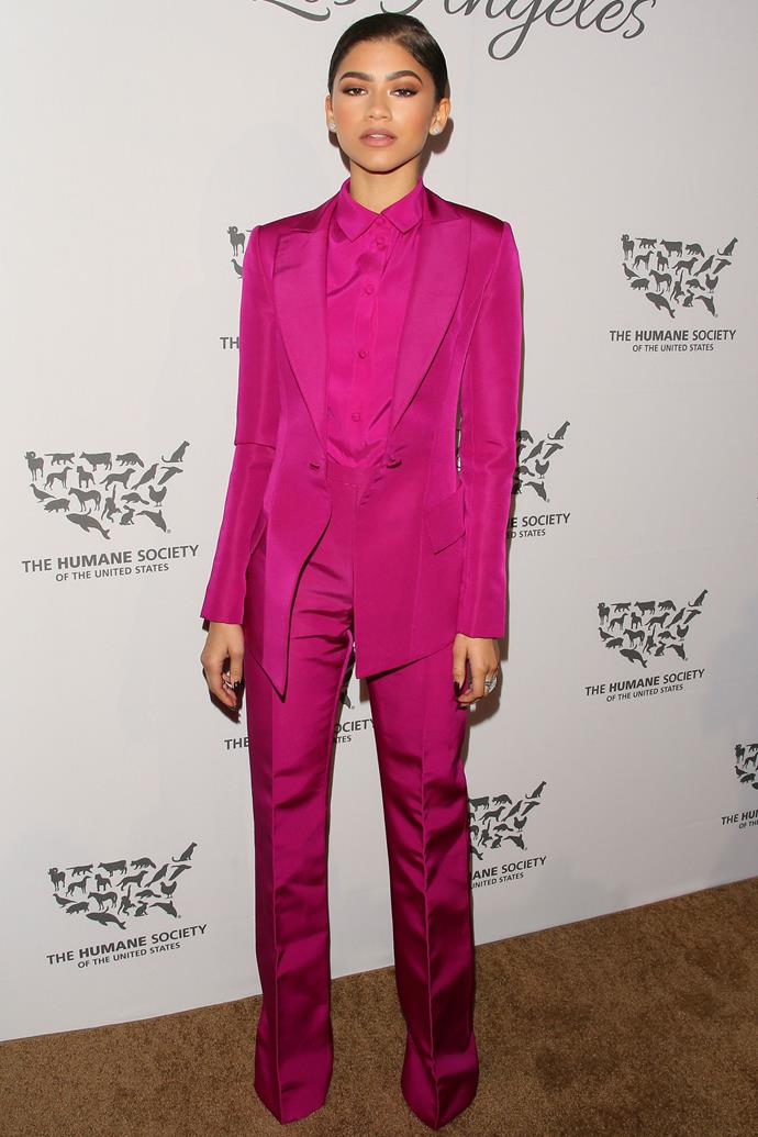 <strong>ZENDAYA</strong> <bR><bR> <strong>May 2016</strong>: Pink was spotted all over the AW16 catwalks — from accessories to complete outfit domination. Take inspiration from Zendaya and add a pop of colour to your trouser suit collection.