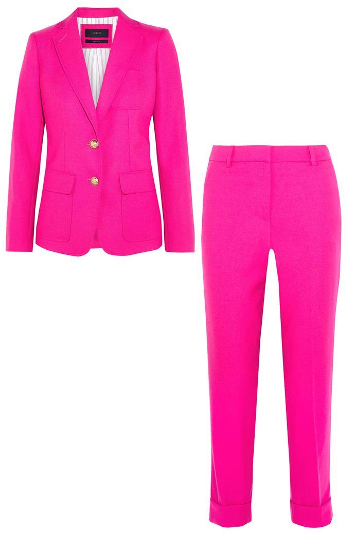 "Wool-twill jacket, $377, and trousers, $254, <a href=""https://www.net-a-porter.com/au/en/product/755968/JCrew/rhodes-wool-twill-blazer-?cm_mmc=LinkshareUK-_-QFGLnEolOWg-_-Custom-_-LinkBuilder&siteID=QFGLnEolOWg-VAnizCMjrK2ZTQ61NHABzw"">J.Crew at Net-a-porter</a>"