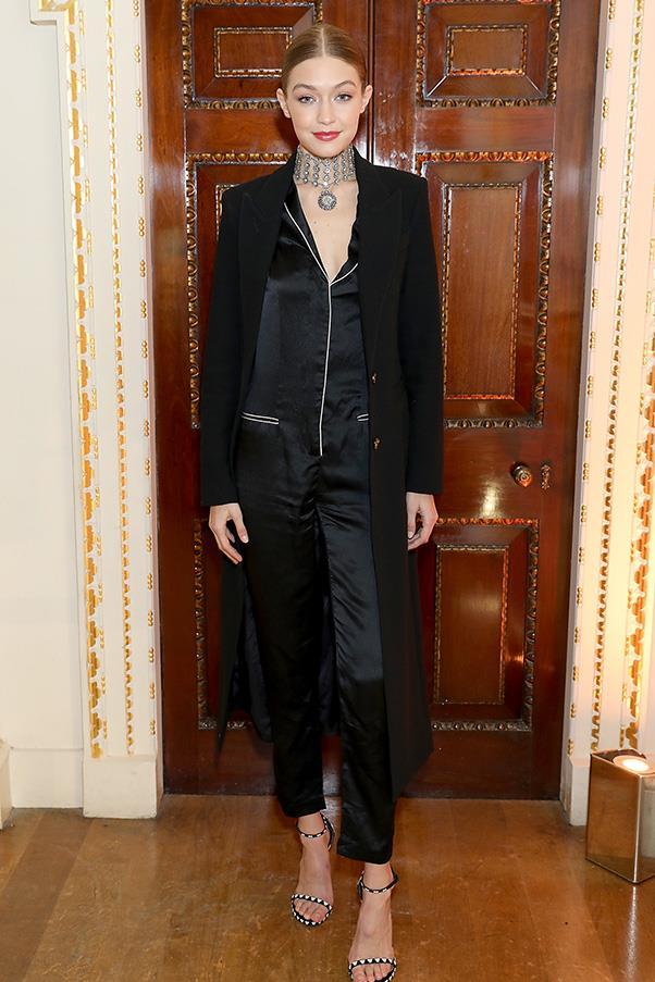 Gigi Hadid in Fleur du Mal at the launch of Stuart Weitzman's London flagship.