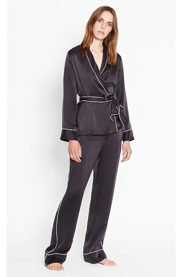 """Satin pyjama set by Equipment, approx. $620, <a href=""""http://www.equipmentfr.com/shop/pajamas/odette-silk-pajama-set-true-black"""">Equipment</a>"""