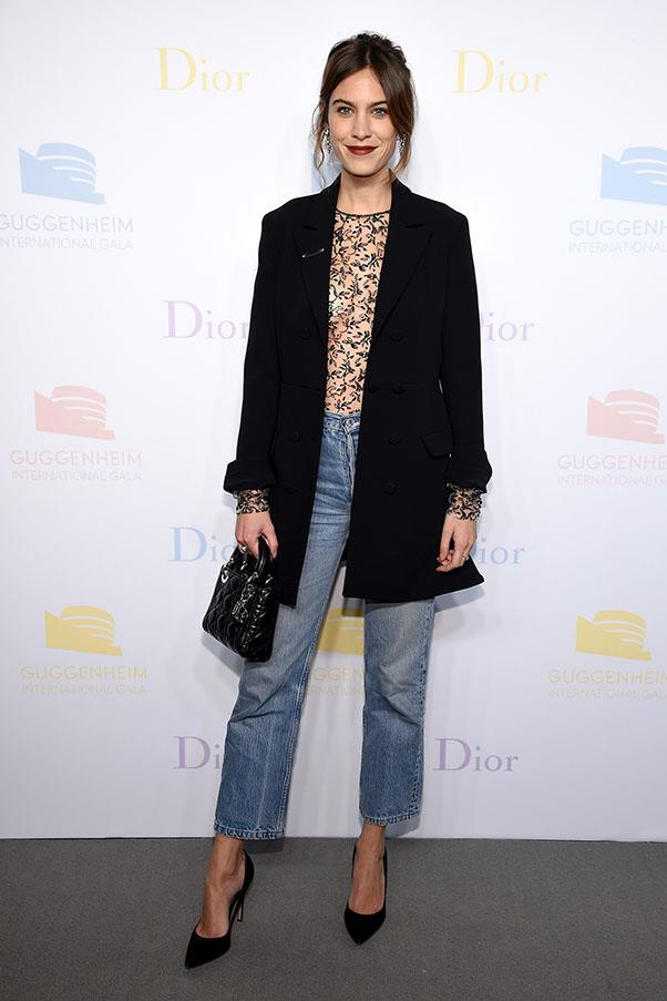Alexa Chung bucked the status quo when she wore high-waisted jeans to Dior's gala at the Guggenheim (most guests wore ball gowns, for context) — but didn't she pull it off magnificently?
