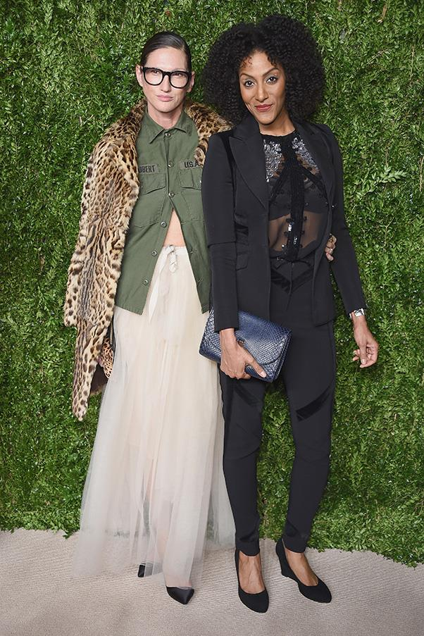 How do you get away with wearing a button down khaki shirt and a leopard-print coat on the red carpet? Pair it with a floor-length tulle skirt, obviously. We love you, Jenna Lyons.