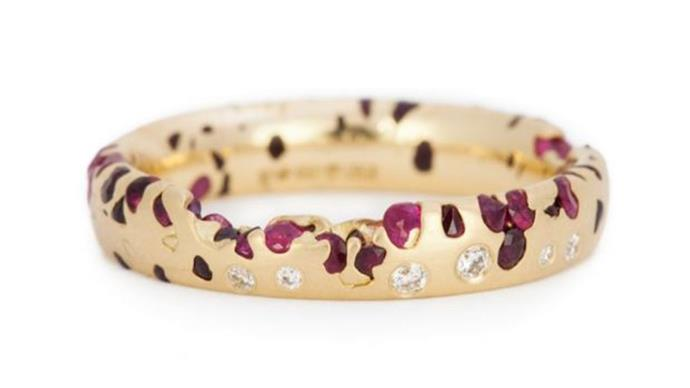 """Polly Wales red ring, $9000 from <a href=""""http://www.pollywales.com/products/ruby-confetti-ring-with-diamonds-slim/"""">Polly Wales</a>."""