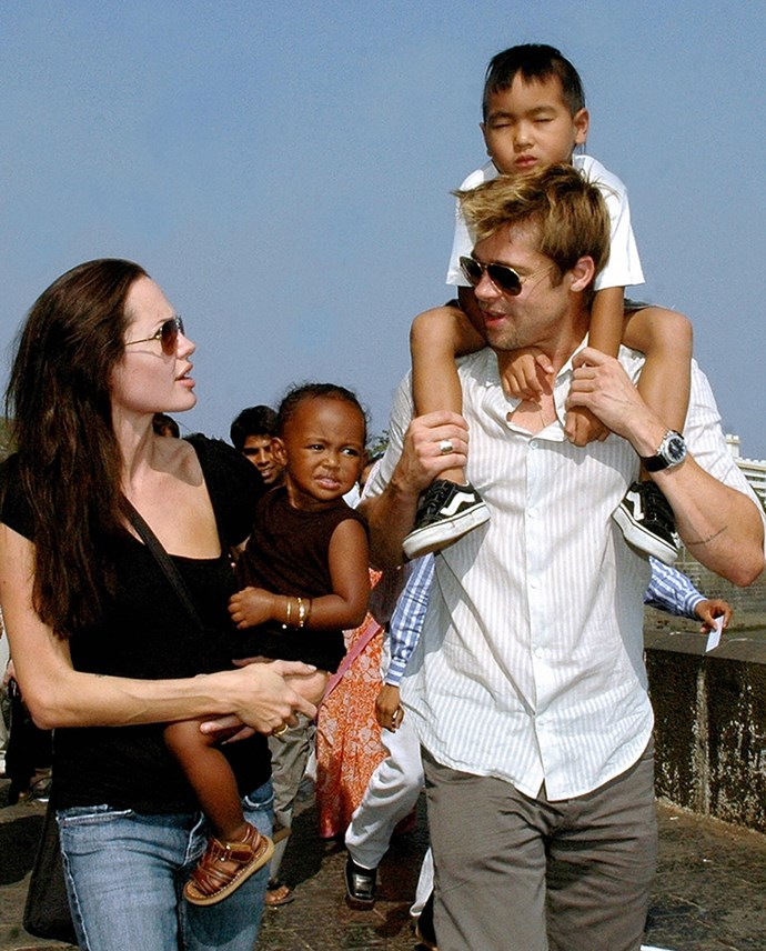 """<strong>Brad Pitt will be spending Thanksgiving away from his family</strong> <br><br> Although, in the past the family has been open about their love of spending holidays together, Brad Pitt isn't invited to spend Thanksgiving with Angelina Jolie and their six children. A source confirmed to <em>Us Weekly</em> that due to the ongoing custody battle, Pitt has only seen his children three times since Jolie filed for divorce, leaving him """"crushed."""""""