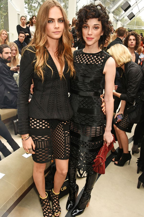 """<strong>Cara Delevingne and St. Vincent</strong> <br><br> The ultra-stylish couple dated for 18 months, gracing several front rows together before splitting in September. Though neither spoke out publicly on the breakup, sources reported that """"pressures of the long-distance romance just became too much."""" Since then, St. Vincent (née Annie Clark), has reportedly started dating Kristen Stewart."""