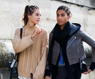 Models Walking Talking in Street