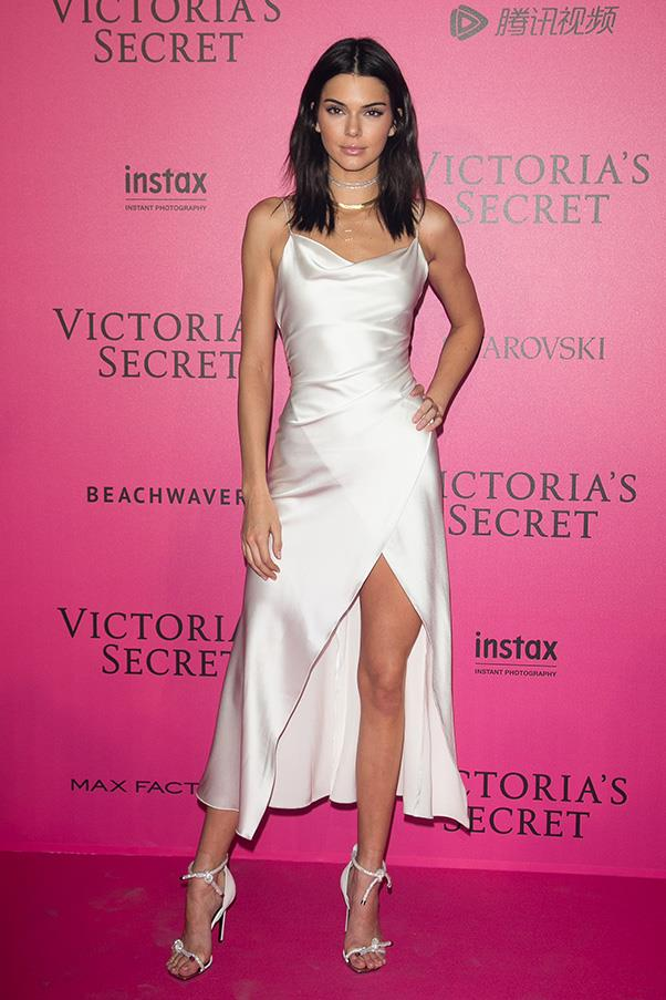 "<strong>Camilla and Marc</strong> <br><br> Kendall opted for a white Camilla and Marc slip dress for the Victoria's Secret fashion show after party in Paris. With multiple in appearances in the label, we think we can now count her as a fan. <br><br> The look will reportedly be available to buy soon <a href=""https://www.camillaandmarc.com/eboutique/dresses.html"">here</a>."