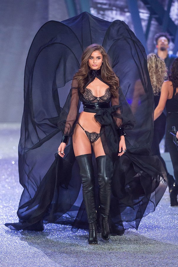 "Taylor Hill in Dream Angels Wicked Cropped Bustier Uplift, $47, <a href=""https://www.victoriassecret.com/bras/runway-themes-collection/the-cropped-bustier-uplift-dream-angels-wicked?ProductID=319993&CatalogueType=OLS&affid=3640649&vendor=3640649"">Victoria's Secret </a>"