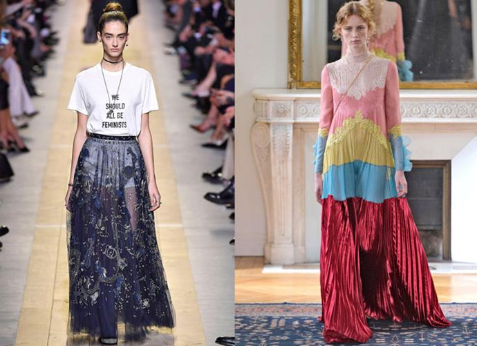 """<strong>Maria Grazia Chiuri and Pierpaolo Piccioli's Solo Debuts</strong> <BR><BR> The designers' breakup was bittersweet, however, seeing as each went on to deliver show-stopping solo collections for both Valentino and Dior. Chiuri made history as the first-ever female creative director at Dior in the fashion house's 70-year history. For her debut Spring 2017 collection, Chiuri made the ultimate girl-power statement with T-shirts reading """"We Should All Be Feminists"""" and """"Dio(r)evolution"""" sprinkled into the looks. It was clear that the new Dior would be ultra-feminine and ultra-proud of the fact. Meanwhile at Valentino, Piccioli unveiled his first solo collection for the house with a whopping 64 looks which earned him a standing ovation. The collection featured a series of pink and red looks along with show-stopping daywear and handkerchief-hemmed dresses that won over the fashion crowd immediately—proving some breakups really are for the best."""