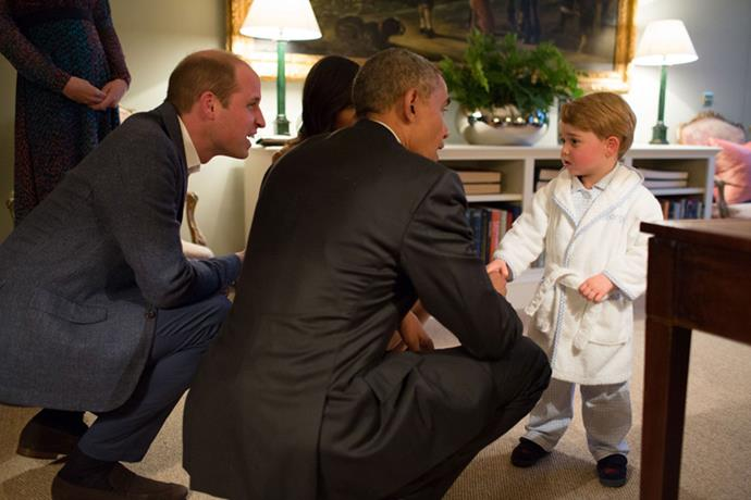 <strong>Prince George Makes A Cozy Style Statement</strong> <BR><BR> Prince George caused a frenzy when he made a legendary style statement and wore a white terry-cloth bathrobe for a formal meeting with President Obama—winning the cutest fashion moment of the year, hands down. After spending years ogling Kate Middleton's looks, the royal tot made it clear that he's the real style contender of the family.