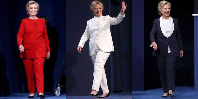 """<strong>Hillary Clinton's Patriotic Debate Suits</strong> <br><br> Though there was too much at stake during the 2016 presidential election to discuss fashion, we couldn't help but notice the subtle theme of Hillary Clinton's debate night looks. The Queen of Pantsuits didn't stick to the """"Democratic blue"""" dress code but instead opted for a more patriotic theme by wearing a red suit, a white suit and a blue suit to each of the debates. The Democratic candidate's winning suits were all by American designer Ralph Lauren."""