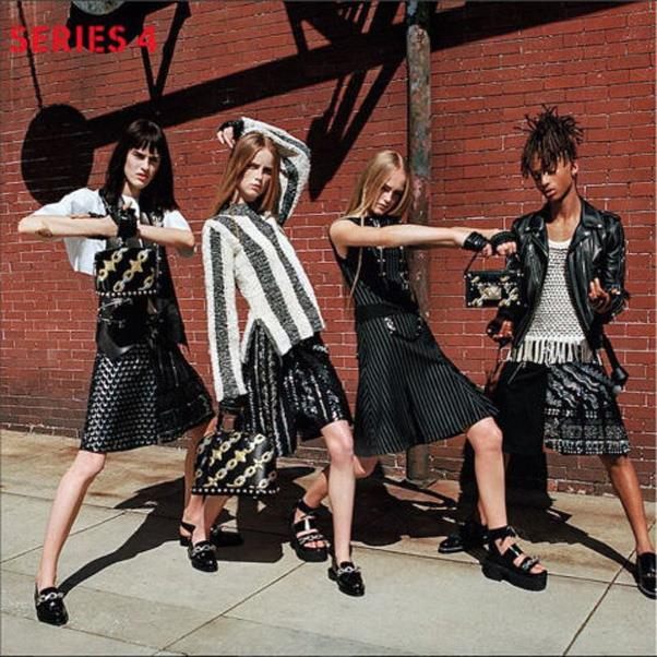 <strong>Jaden Smith Stars in Louis Vuitton's Womenswear Campaign</strong> <br><br> Making a giant leap towards gender neutrality, Louis Vuitton cast Jaden Smith in its Series 4 womenswear campaign—wearing women's clothes. The 18-year old wore a Vuitton pleated skirt, tasseled shirt and leather jacket alongside models Sarah Brannon, Jean Campbell, and Rianne Van Rompae; nonchalantly breaking down gender barriers while doing so.