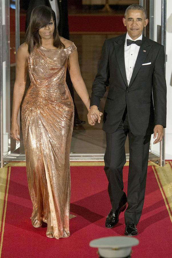 <strong>Michelle Obama Has Her Sparkling Moment</strong> <br><br> And perhaps the most sad revelation about 2016 coming to an end is the fact that we'll be saying goodbye to Michelle Obama's knockout fashion moments as First Lady. Although it's been eight years of impeccable style, the FLOTUS really stepped up her fashion game in 2016 and hit a high-note in this sequin Versace Atelier gown at the Obamas' last State Dinner. It was the ultimate fashion mic drop.