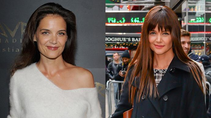 Recently, Katie Holmes stepped out in New York sporting a blunt block fringe.