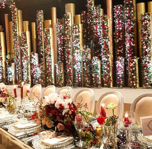 A closer look at the table setting and flowers.