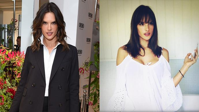 """Alessandra Ambrosio debuted a new fringe via her <a href=""""https://www.instagram.com/p/BN40wmBhrph/?taken-by=alessandraambrosio"""">Instagram</a> account, earlier this morning."""