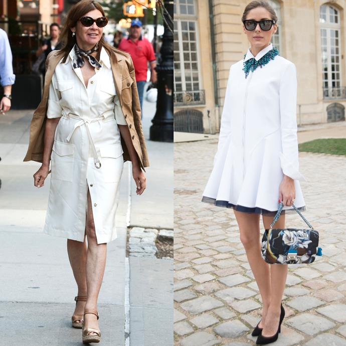 <strong>THE SHIRT DRESS</strong> <br><br> The shirt dress can go from casual with flats to dressed up with a blazer and heels. Its versatility is nearly endless. <br><br> <em>Pictured: Carine Roitfeld and Olivia Palermo</em>