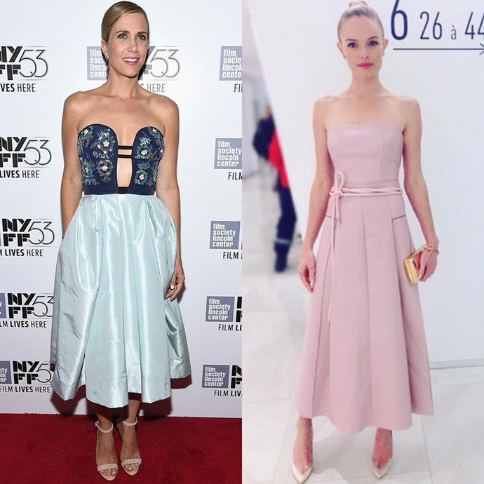 <strong>THE LADYLIKE NIGHTTIME DRESS</strong> <br><Br> For those occasions when a cocktail dress or black tie gown won't due, a ladylike evening dress is just the thing you'll be searching for. <br><Br> <em>Pictured: Kristen Wiig, Kate Bosworth</em>
