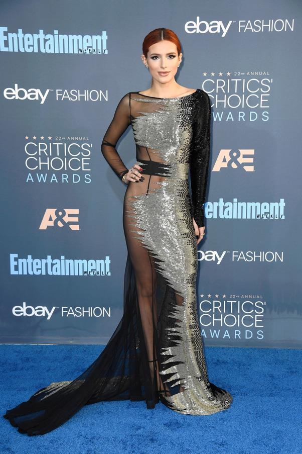 <strong>BELLA THORNE</strong> <br><br> Bella Thorne officially shed her Disney roots after wearing this extremely sexy Alexander McQueen gown to the 2017 Critics' Choice Awards, featuring daring sheer panelling.