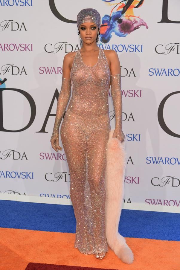 <strong>RIHANNA</strong> <br><br> Rihanna always surprises with her original approach to style, but the sheer bejewelled dress she wore to the 2014 CFDAs shocked more than most. Part Josephine Baker, part sphinx, the pop star teamed the look with a glittering turban, a fur stole and a nude thong to hide her modesty. Rumour has it that she chose the dress to show her ex-boyfriend Drake what he was missing.
