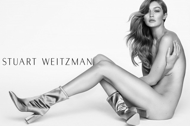 <strong>Stuart Weitzman</strong> <br><br> Modelled by Gigi Hadid, shot by Mario Testino.