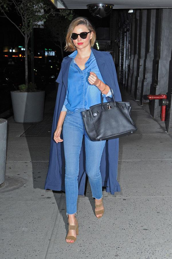 <strong>May 24, 2016</strong><br><br> Kerr rocks a simple take on double denim.