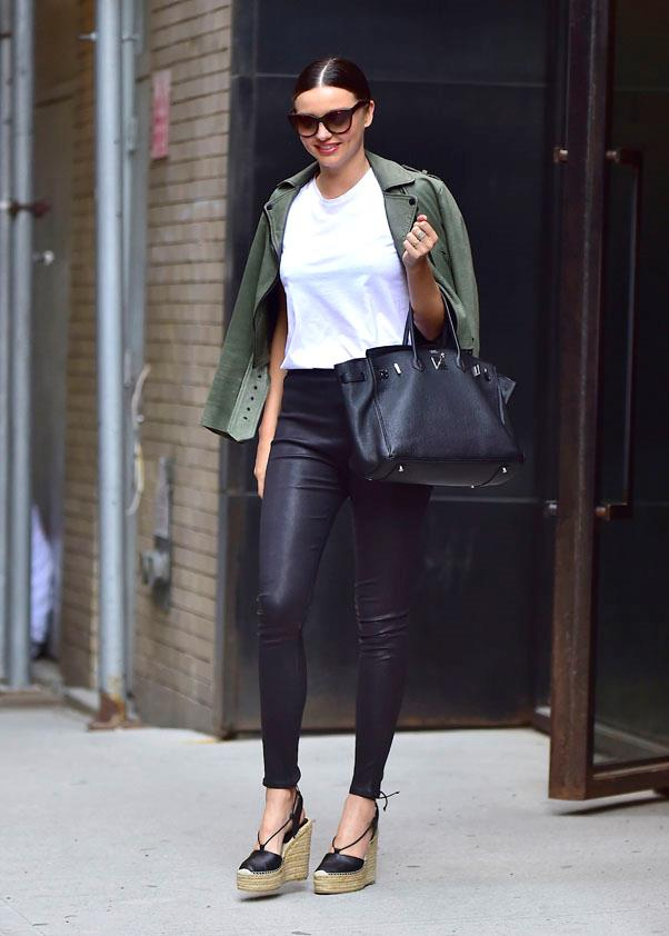 <strong>May 25, 2016</strong><br><br> Ker spotted on the streets of SoHo in a simple white tee and leggings.