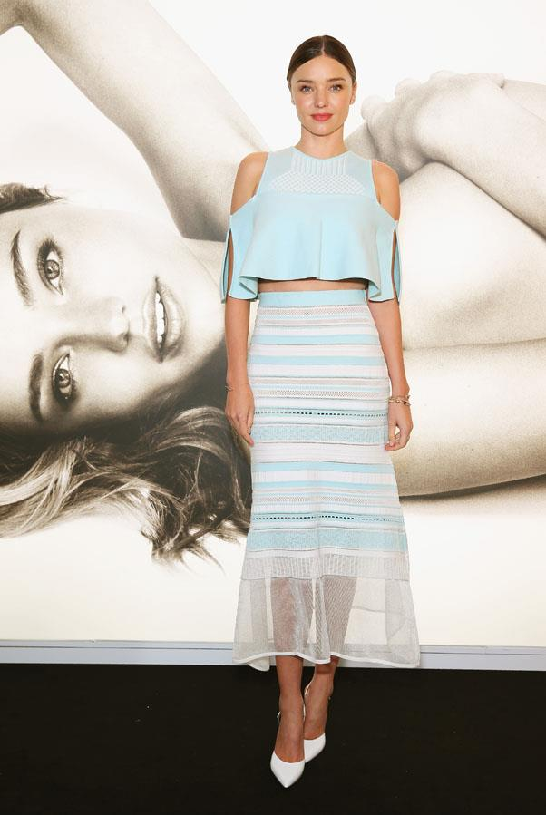<strong>June 27, 2016</strong> <br><br> Miranda looking dreamy in this pale blue ensemble at a Westfield Sydney event.