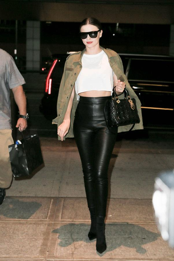 <strong>September 23, 2016</strong> <br><br> Kerr continues to prove that the simple white tee/black leggings combo is seriously chic when teamed up with a layered jacket, big sunnies and a designer handbag to top it all off.