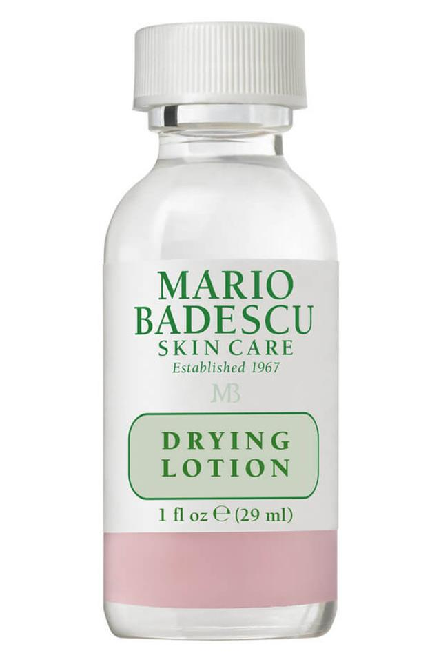 "The duo of calamine and salicylic acid in this drying lotion make it one of the fastest acting pimple treatments. Dab it on when unexpected midday spots strike. <a href=""http://mecca.com.au/mario-badescu/drying-lotion/I-004684.html""> Mario Badescu Drying Lotion, $24</a>"
