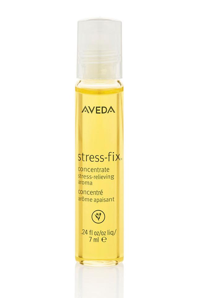 "Something for your pulse points when it all gets too much. The lavender and clary sage in the mix are proven stress busters. <a href=""http://www.aveda.com.au/product/8930/21949/Collections/Stress-Fix/Stress-Fix-Concentrate/index.tmpl"">Aveda Stress-Fix Concentrate, $39.95</a>"