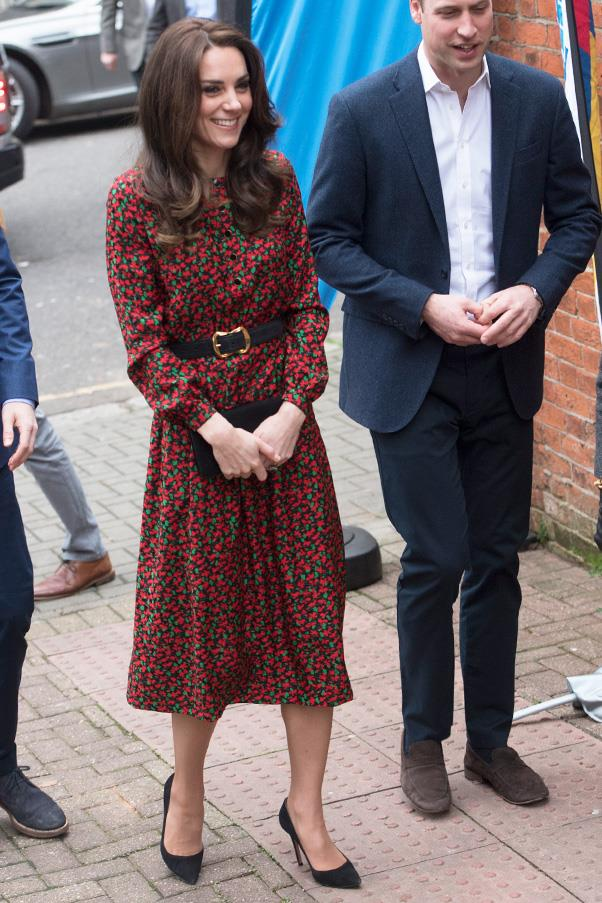 The Duchess donned a Christmas-inspired Vanessa Seward dress to The Mix Christmas party in London, with husband Prince William.