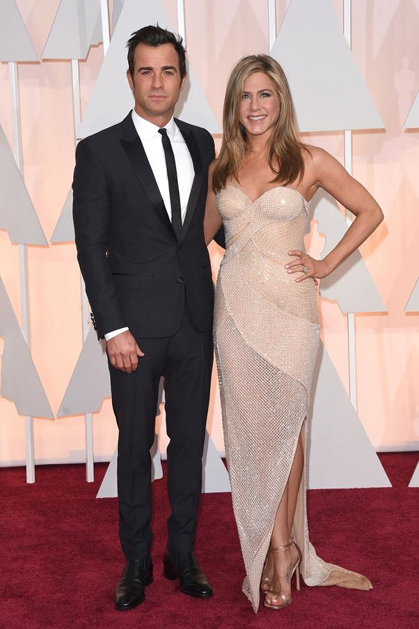 <strong>JENNIFER ANISTON AND JUSTIN THEROUX</strong> <br><br> After years of marriage and baby rumours, Jennifer Aniston and Justin Theroux shocked everyone with a top-secret wedding ceremony held in their backyard in August 2015. While most details still remain a secret, the couple reportedly wed in front of 70 close friends and family members and Sia performed at the ceremony.