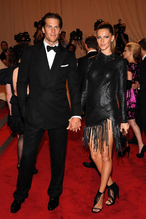 <strong>GISELE BUNDCHEN AND TOM BRADY</strong> <br><br> Supermodel Gisele Bundchen planned not one but two secret weddings back in 2009. The couple's first ceremony took place in Santa Monica at a small Catholic church, while the second was held at the couple's Costa Rican vacation home. Five years later we finally caught a glimpse of the dress (via Instagram) but the designer is still unknown.