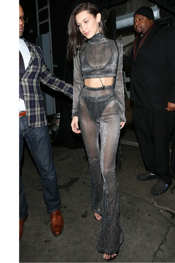 Bella Hadid's sheer, flared metallic two-piece offered serious Studio 54 vibes.