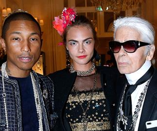 Karl Lagerfeld, Cara Delevingne and Pharrell Williams.