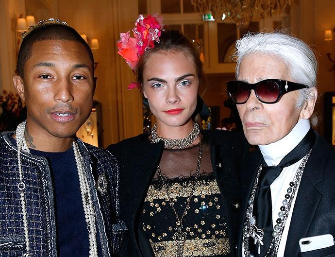 Karl Lagerfeld, Cara Delevingne and Pharrell Williams.