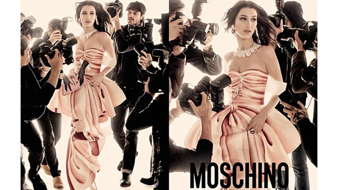 <strong>Moschino</strong><br><br> Modelled by Gigi and Bella Hadid, shot by Steven Meisel.