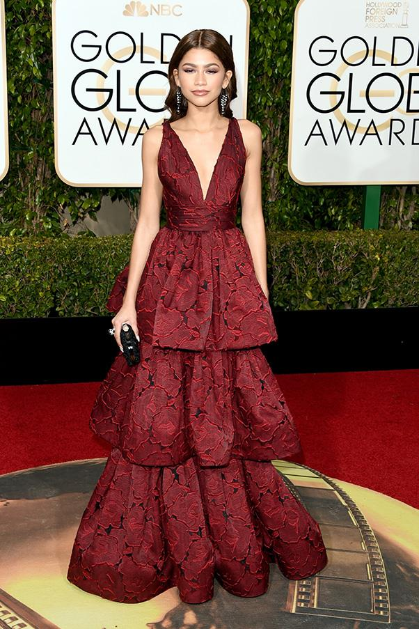 <strong>Zendaya, 2016</strong><br><br> In Marchesa.